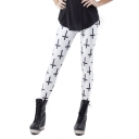 White Allover Cross Print Skinny Elastic Leggings