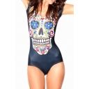 Cute Colorful Skull Print Cap Sleeve Bodysuit