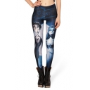 Two Main Characterrs of The Corpse Bride Elastic Leggings
