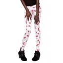 White Long Elastic Leggings with Cute Cherry Print