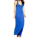 Plain Halter Neck Cutout Back Sleeveless Maxi Dress