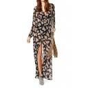 Floral Print Long Sleeve Split Front Maxi Dress