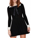 Peter Pan Collar Knitted Pleated Dress with Contrast Trim and Bow-Tie