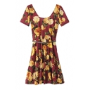 Flower Print Low Round Neck Short Sleeve Belted Dress