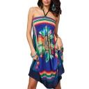 Blossom&Geometry Print Elastic Chest Halter Beach Dress