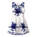 Blue and White Porcelain Flower Print White Tanks Dress