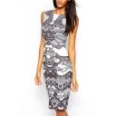 White Floral Print Round Neck Sleeveless Mini Dress