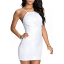 White Plain Strap Sleeveless Zipper Mini Dress