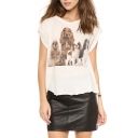 White Short Sleeve Vintage Dogs Print Distressed Hem T-Shirt