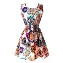 Sleeveless Unique Flower&Geometry Print Dress
