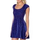 Dark Blue Geo-Tribal Pattern Print Velvet A-line Dress