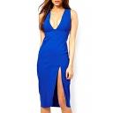 V-Neck Sleeveless Split Midi Dress