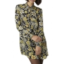 Floral Print Removable Collar Long Sleeve Drawstring Waist Dress