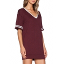 Red Striped Trim V-Neck Short Sleeve Dress