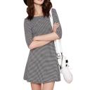 Mini Houndstooth Pattern Round Neck 1/2 Sleeve A-line Dress