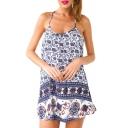 Blue Elephant Ethnic Print Spaghetti Strap Beach Dress