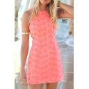 Orange Sleeveless Flora Lace Slim Mini Dress