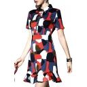 Short Sleeve Lapel Office Lady Style A-line Ruffle Hem Printed Dress