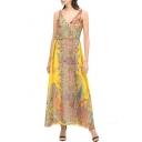 Tribal Print V-Neck Sleeveless Belted Dress