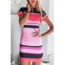 Colorful Striped Print Short Sleeve Hollow Back Dress