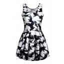 Black Sleeveless Ink Bird Print Scoop Neck Dress