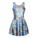 Sleeveless Emoji Expression A-Line Pleated Dress