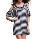 Stripe Round Neck Cold Short Ruffle Sleeve Shift Dress