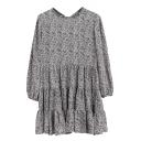 Long Sleeve Round Neck Leaf Print Smock Dress
