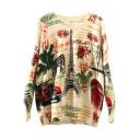 Beige Long Sleeve Letter Towel Print Sweater