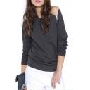 Women's Cold Shoulder Long Sleeve Zip Detail T-shirt