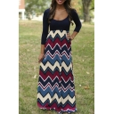 Womens Fashion 3/4 Sleeve Casual Contrast Color Striped Maxi Dress