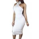 Womens Strapless Halter With Sleeveless Bodycon Sexy Midi Dresses