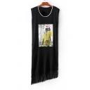 Fashion Sleeveless Round Neck Tassel Hem Dress