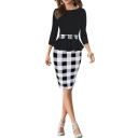 Women's Houndstooth Belted Colorblock Tartan Wear to Work Casual Pencil Dress