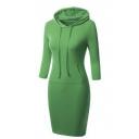 Women's Elbow Sleeve Hooded Hoodies Dress with Kangaroo Pockets