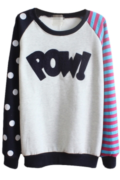 Polka Dot and Stripe Print Sweatshirt with Letter Pattern