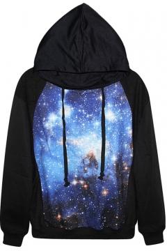 Blue Space Print Black Hoodie