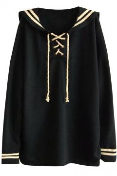 Cotton&Linen Drawstring Neck Oversized Lapel Navy Style Sweatshirt