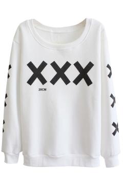 Cross Pattern Round Neck Long Sleeve Sweater