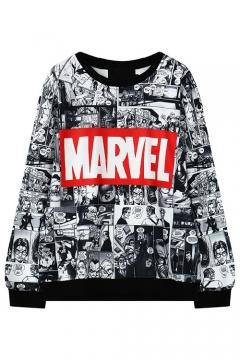 Cartoon Print Round Neck Black Trim Long Sleeve Sweatshirt