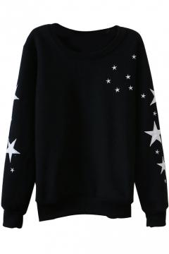 Stars Print Round Neck Long Sleeve Sweatshirt