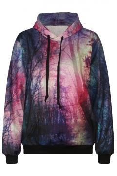Landscape Print Hooded Long Sleeve Sweatshirt