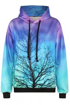 Hooded Ombre Tree Print Long Sleeve Sweatshirt