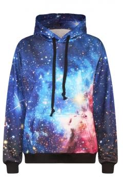 Hooded Long Sleeve Galaxy Print Sweatshirt