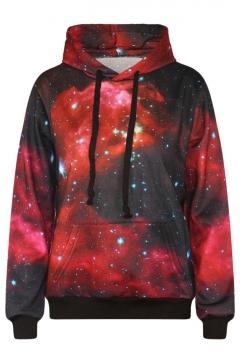 Galaxy Print Long Sleeve Red Hooded Sweatshirt