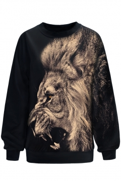 3D Lion Print Round Neck Black Loose Pullover Sweatshirt
