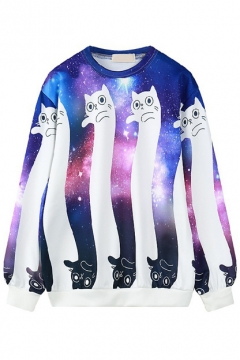 Galaxy & Cat Print Round Neck Long Sleeve Loose Sweatshirt