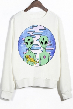 Crew Neck Ribbed Sleeves Alien Print Sweatshirt