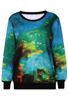 Chic Galaxy Special Pattern Round Neck Long Sleeve Sweatshirts