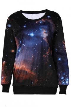 Cool Fashion Round Neck Long Sleeve Galaxy Pattern Sweatshirts